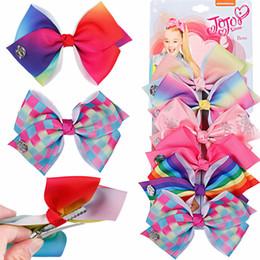 Cartoon Ribbon Hair Clips NZ - JoJo Bows With Hair Clips 6pcs set For Girls Kids Handmade Cartoon Unicorn Rainbow Printed Knot Ribbon Bow Hair Accessories H975Q