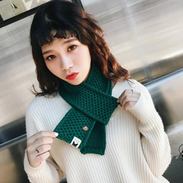 Discount women nice scarves Warm woman scarf with a small strawberry solid scarves nice short paragraph knitted scarf gifts multicolor