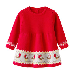 Chinese  baby girl clothing dress spring fall little chick design knitted dress round collar long sleeve warm girl dress clothes manufacturers