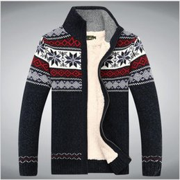 Barato Mens Camisola Extra De Warm-Long Cardigans Mens Plus Size M-3XL Thick Warm Wool Sweaters For Men Roupa Inverno Zipper Sweater Fashion Coat