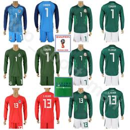 1a42d96025572 Copa Mundial 2018 Fútbol de manga larga 13 Guillermo Ochoa Jersey de México  Juego 1 CORONA 7 Miguel Layun 22 Hirving Lozano Kits de camiseta de fútbol  ...