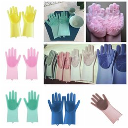 Wholesale Magic Silicone Dish Washing Gloves Eco Friendly Scrubber Cleaning For Multipurpose Kitchen Bed Bathroom Hair Care MMA834 pair