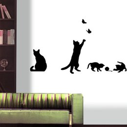 black cat window stickers 2019 - sticker decal Cute Black Cat playing Butterflies Wall Stickers Decals for kids rooms Wall Decal Murals Poster Window Swi