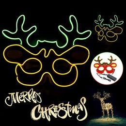 $enCountryForm.capitalKeyWord NZ - 3 Modes EL Wire + Cotton Glow Mask EL Wire LED Light Up Cosplay Christmas Reindeer Eye Masks role-playing Halloween Party