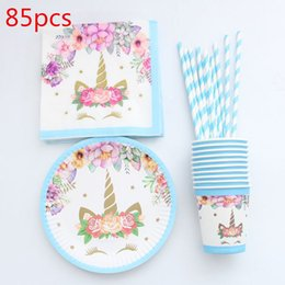 Discount paper plates napkins cups - 85pcs Unicorn Disposable Tableware Christmas New Year Party Paper Plates  sc 1 st  DHgate.com & Discount Paper Plates Napkins Cups   Wholesale Paper Plates Cups ...