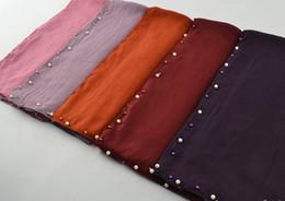 $enCountryForm.capitalKeyWord Australia - Viscose Soft Scarf ladies solid color pearl bead plain cotton shawls long hijab muslim scarves scarf