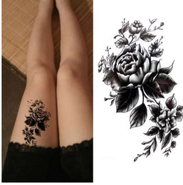 black rose tattoos Canada - Black big flower Body Art Waterproof Temporary Sexy thigh tattoos rose For Woman Flash Tattoo Stickers 10*20CM KD1050