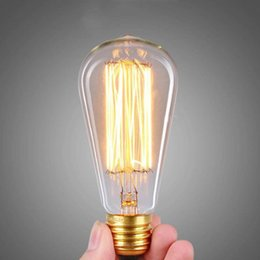Vintage Edison Bulbs E27 Straight Incandescent ST64 Filament Bulb Squirrel Cage  Carbon Bulb Retro Edison Light For Pendant Lamp