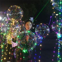 Flower Balloons Australia - 20inch LED Flash bobo ball 3m wave led line lights string balloons colorful flash light clear balls Christmas Halloween Wedding Party Decor