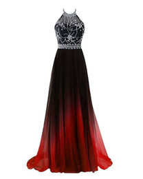 Wholesale Gradient Sleeveless Chiffon Beads Evening Dresses Backless Long Prom Plus Size Dresses
