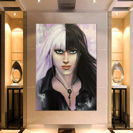 $enCountryForm.capitalKeyWord Australia - 1 Pcs Portrait Hipster Cool Girl Black And White Print Pictures Wall Art Framework PaintingPoster Modular Home Decor