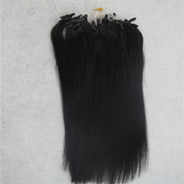 Chinese  Jet black Straight Micro Loop Ring Hair Extension 100G Remy Micro Bead Hair Extensions 1g strand Micro Link Human Hair Extensions manufacturers