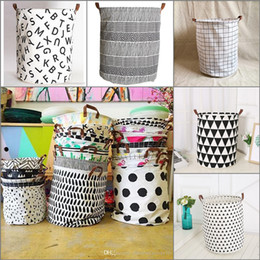 Wholesale 20 Colors Toy Storage Basket Children Room Bucket Organizer Folding Bag With Handle Self Stand Clothes Storage Ins Laundry Basket x50cm