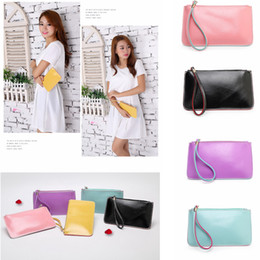 $enCountryForm.capitalKeyWord NZ - Solid Candy Color PU Clutch Wallet Coin Phone Money Holders Card Bag Storage Women Casual Shopping Outdoor Girls Purse 5 Colors AAA673