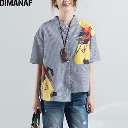 $enCountryForm.capitalKeyWord Canada - DIMANAF Women Blouse Shirt Summer Plus Size Striped Print O-Neck Asymmetrical Hems Female Office Lady Loose Button 2018 New Tops