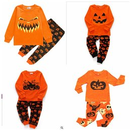 Discount girls skull t shirt - Halloween Kids Clothing Set Baby Girl Pumpkins Skull Print Clothes Set Boys Casual Pajamas Long Sleeve T-Shirt And Pants