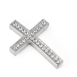 $enCountryForm.capitalKeyWord Australia - Cross Metal Connector Bead DIY Shamballa Bracelet Silver Color White Clear Crystal Inlay For Jewelry Making