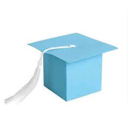 Wholesale Gift Boxes For Chocolates UK - IALJ Top 25Pcs DIY Paper Graduation Cap Shaped Gift Box Sugar Chocolate Box for Graduation Party Favor Cap Bachelor Hat Weddin