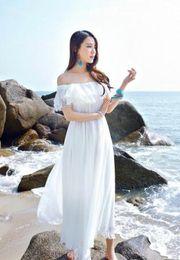 Новый 2018 лето Приморский пляжный отдых платье без бретелек шифон привело слово с вне плечо платье Платье на Распродаже