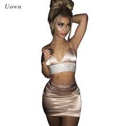 $enCountryForm.capitalKeyWord Australia - 2 Piece Outfit Set Women Crop Top and Skirt Set Bodycon Satin Slip Suits Summer Sexy Night Club Wear Party Two Piece Sets 2017