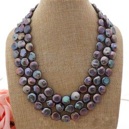 $enCountryForm.capitalKeyWord Australia - N052306 3Strands 18''-20'' Black Coin Pearl Necklace