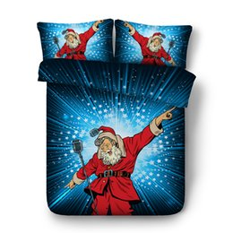 cotton super king bedding set UK - Funny and Cool Santa Claus bedding set 4pcs X'mas gift Single Full Queen super king size Christmas duvet quilt covers