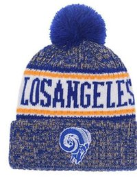 7ceb89f8292b00 Top Selling Rams beanie LA Ram beanies Sideline Cold Weather Reverse Sport  Cuffed Knit Hat with Pom Winer Skull Caps