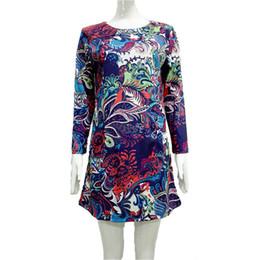 89f1b25106f1d M-4XL large size 20 colors national style autumn round neck long sleeve  mini woman dress versatile fashion high quality h