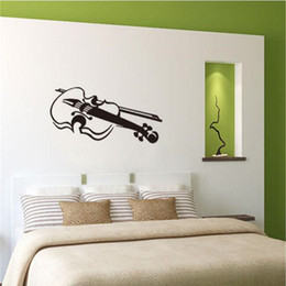 Pattern Decor Australia - Violin Pattern Friendly Wall Stickers Removable for Bedroom Home Art Decor Sweet Vinyl Waterproof Decals Living Room K515