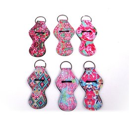 $enCountryForm.capitalKeyWord Canada - Lily Keychain Chapstick Cover Mini New Style Printing Diving Suit Fabric Keyring Holder Eco Friendly Novelty 8 shaped Lipstick Case 3ny VY