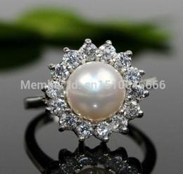 Genuine Cultured Black Pearls Australia - FREE SHIPPING >>>Genuine Freshwater Cultured Pearl & Ring ( White 7-9#)