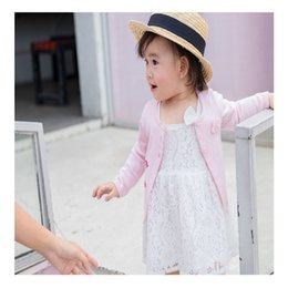Cardigan Cotton Girls Australia - Baby Girls Flower Embrodiery Cardigan Sweaters Spring 2018 Kids Boutique Clothing Toddler Girls Cotton Knit Shrug Thin Outerwear