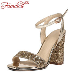 345cd0e08d11 women high heels sandals summer square heels platform sandals summer shoes  ladies sexy open toe bling party wedding shoes woman