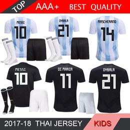 f9fcbc29935 Kits Argentina Jersey NZ - Argentina messi World Cup Away black soccer Jersey  2018 kids BIGLIA