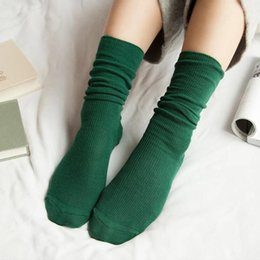 381cdc291 10 Colors Women Cotton Socks Green Stretchy Sokken Casual Female Solid Meia  Winter Orange Knitted Calcetine Mujer Sock Femme QMH