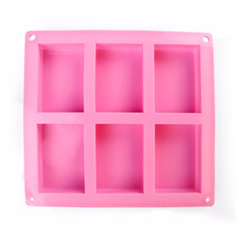 silicone rectangle cake mould NZ - 6 Cavities Handmade Rectangle Square Silicone Soap Mold Chocolate Cookies Mould Cake Decorating Fondant Molds 10Piece