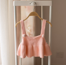 Wholesale Summer Sweet Kids Girls Sundress Solid Halter Pink Dress Sweet Baby Kids Strap Cute Dress