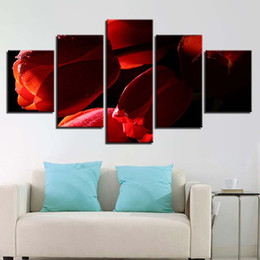Chinese  Canvas HD Printed Paintings Framework 5 Pieces Red Tulips Flowers Poster Modular Home Decoration For Living Room Wall Art Pictures manufacturers