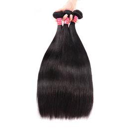 Chinese Hair Human Weaves Australia - BHF Brazilian Straight Hair 3 Pieces Chinese Virgin Human Hair Weave Bundles 10-28inch Natural Color Mongolian European Hair In Stock