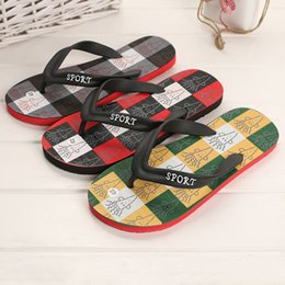 flat shoes korean styles 2019 - Free Shipping new Korean style printing Beach shoes Summer fashion Slipper Flip Flops Men's casual NON SLIP flats s