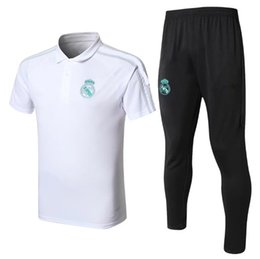 Polo Sportswear NZ - Top Quality 2018 Real Madrid White Short Sleeve Black Trousers RONALDO KROOS BENZEMA New Football Sportswear Suit Men's Training Wear Polo