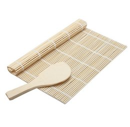 Discount sushi tool set - 1 Set Sushi Rolling Mat Roller Bamboo Material Mat Maker DIY And A Rice Paddle Sushi Tools Cooking tool kitchen gadgets