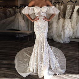 See Through Wedding Dress Crystal Beading Canada - 2019 Sexy Batwing Lace Mermaid Wedding Dresses Sleeveless Sweetheart Off Shoulder 3D Floral Appliques Long Train See Through Wedding Dress