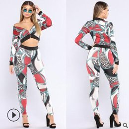 Ladies Suit Pants Shirt NZ - women's suit long-sleeved shirt trousers Sexy gold chain print jacket two-piece suit ladies Pants sets clothes clothing spring autumn