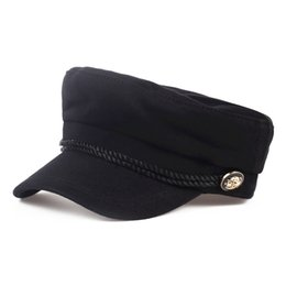 Moda lana Visera sólida Sombrero militar Otoño e invierno Vintage Patchwork  Casquillo de la boina para b642c323bb5