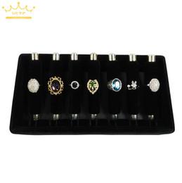 Velvet Jewellery Display Stands Australia - Black Velvet Ring Display Storage Tray Detachable Rings Holder Organizer Cases Jewellery Display Stand 24*13*5cm