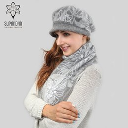 warming scarf Canada - SUPANDAN Soft Fashion Knitted Berets Hat Scarf Set Women Thick Hats For Girls Winter Warm Long Scarves Hats Christmas Gift 8466P