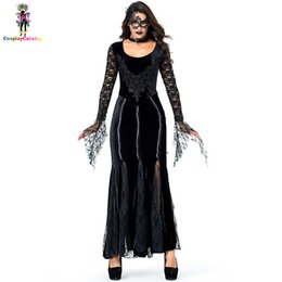 costume mask movie UK - Gothic Deluxe Women Lace Black Long Dresses Halloween Party Vampire Costume With Eye Mask Neck Ring Mysterious Queen Costumes