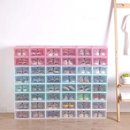 Großhandel Neuer transparenter Plastikschuhspeicherkasten Japanischer Schuhkasten Verdickter Schlagfachkasten-Schuhspeicherorganisator