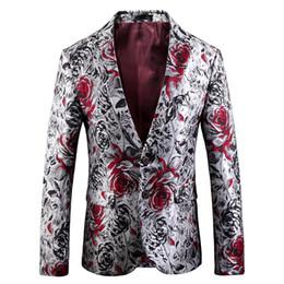 $enCountryForm.capitalKeyWord Australia - Fashion Slim Fit Men Casual Blazer 2018 Pattern Flower Plus Size Masculino Suit Jacket Autumn Mens Prom African Blazer